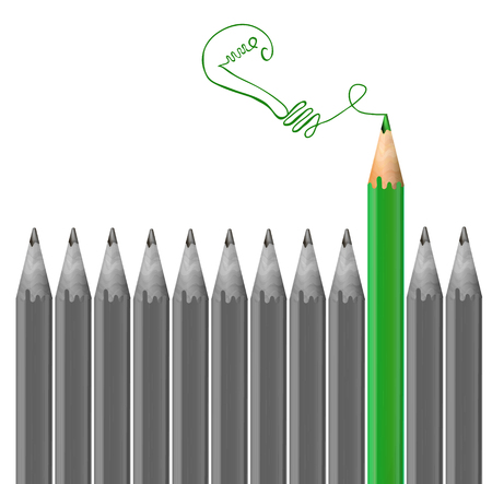 Gray pencils and green pencil drawing light bulb. Idea concept. VECTOR