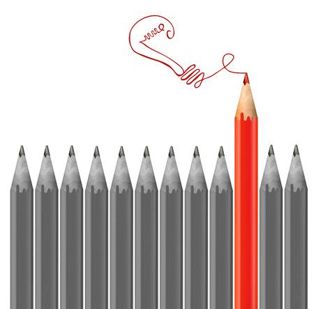 회색 연필과 빨간 연필 드로잉 전구입니다. 아이디어 개념. 벡터