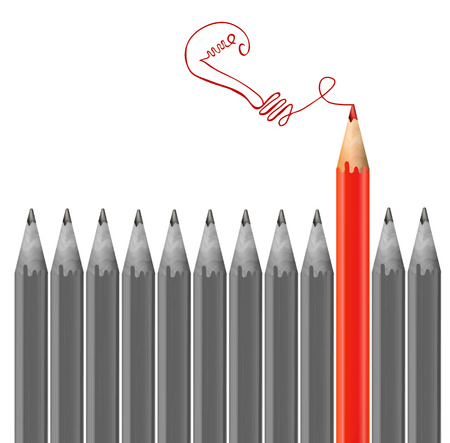 Gray pencils and red pencil drawing light bulb. Idea concept. VECTOR Illustration