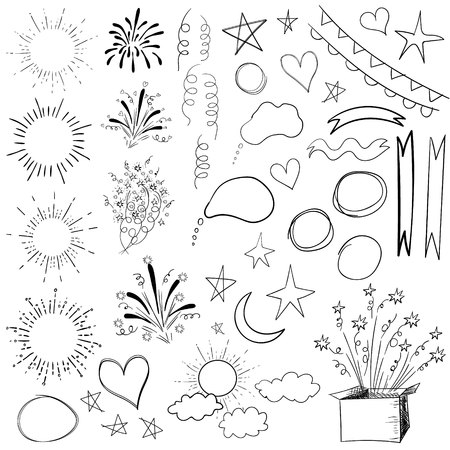 sketched shapes: Collection of 47 elements. VECTOR black illustration isolated on white.