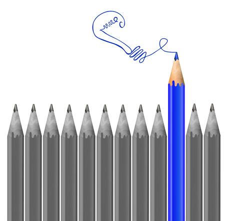 mainstream: Gray pencils and blue pencil drawing light bulb. Idea concept. VECTOR