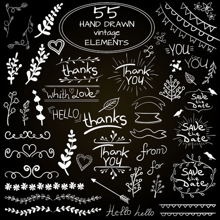 inscriptions: Big set of 55 hand drawn design elements. VECTOR. Blue on white Illustration