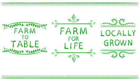 devider: FARM FOR LIFE, FARM TO TABLE, LOCALLY GROWN. Hand drawn typographic elements isolated on white. Green lines. Farming icons