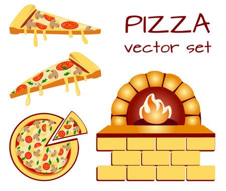 Conjunto de iconos de menú de pizza. Iconos de comida Símbolos de empaquetado. Ilustración de VECTOR aislada en baclground blanco. Ilustración de vector