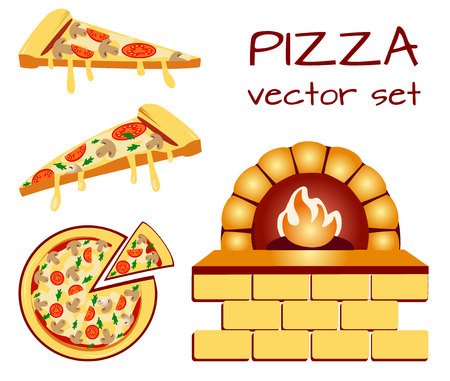 Set of pizza menu icons. Food icons. Packaging symbols. VECTOR illustration isolated on white baclground.
