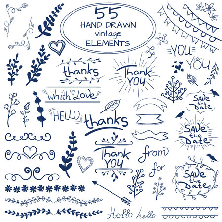 Big set of 55 hand drawn design elements. Vintage VECTOR doodles. Blue on white
