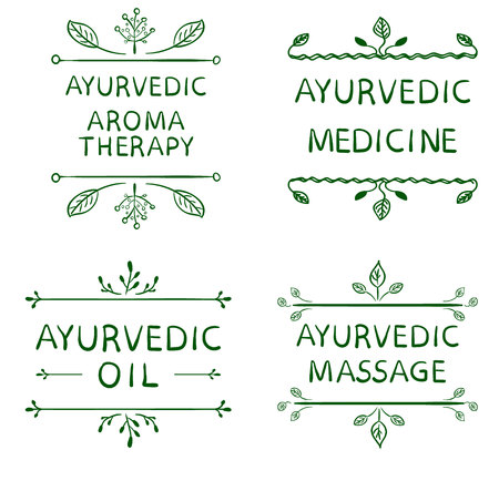 vedic: AYURVEDIC AROMETHERAPY, MEDICINE, OIL, MASSAGE. Set of typographyc VECTOR elements, hand drawn letters. Green lines