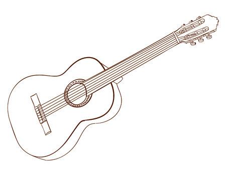 Kunst van akoestische gitaar die op wit wordt geïsoleerd. Donkerbruine lijnen. VECTOR