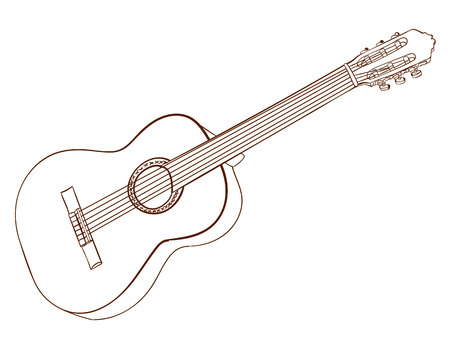 Art of acoustic guitar isolated on white. Dark brown lines. VECTOR