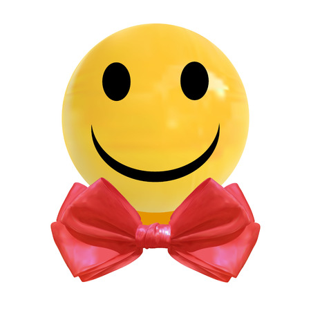 VECTOR realistic dragee candy with smiley face and red bow tie Illustration