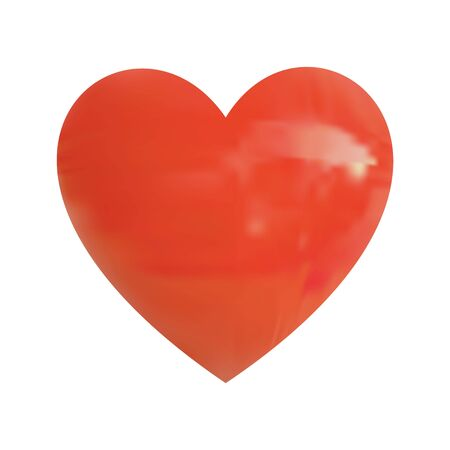 Realistic VECTOR glossy red heart on white Illustration