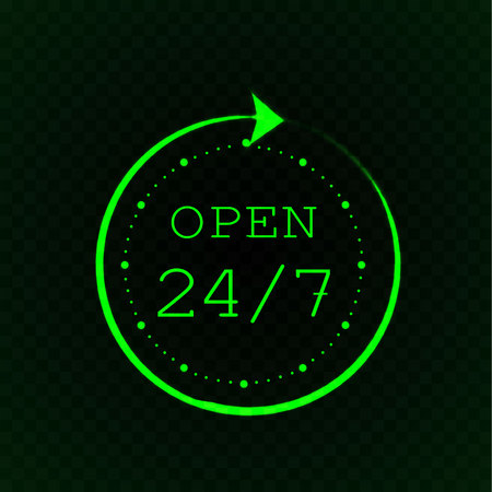 Open 24 7 and stylized clock, green neon light