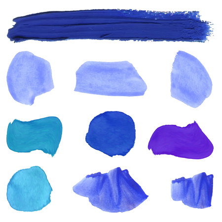 Blue paint smears VECTOR set isolated on white