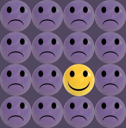 Business concept as a group of purple sad emoticons and with one individual yellow smiley as a business icon for innovative solution Illustration