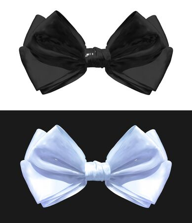Black and white VECTOR bows isolated illustrations