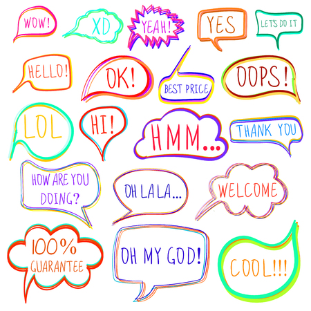 violet red: Set of drawn colorful speech and thought bubbles.