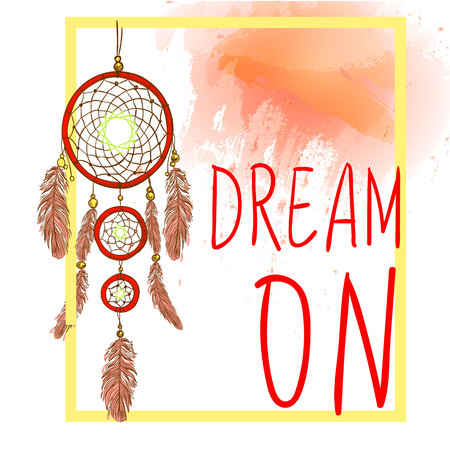 Dream On Words With Hand Drawn Dream Catcher With Paint Splash Awesome Dream Catcher Words