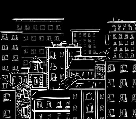 Line work, doodle city. White lines on black chalkboard. VECTOR hand drawn sketch Illustration