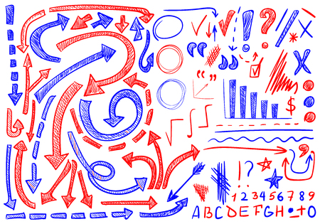 VECTOR set of hand-sketched icons. Elements for text correction or planning. Blue and red color.