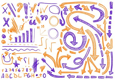 sketched arrows: VECTOR set of hand-sketched icons. Elements for text correction or planning. Orange and purple color.