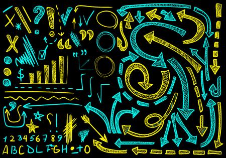 VECTOR grand ensemble d'icônes dessinées à la main. Éléments pour la présentation. Cian et couleurs jaunes sur fond noir, dessins à la craie Vecteurs