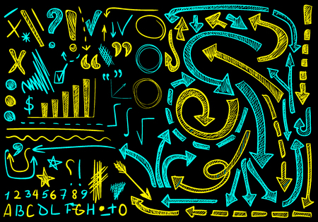 VETTORE grande set di icone disegnate a mano. Elementi per la presentazione. Cian e colori gialli su sfondo nero, disegni a gessetto Vettoriali