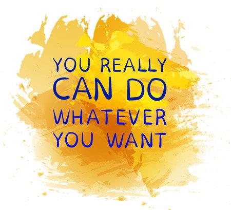 'Je kunt echt KAN doen wat je wilt' tekst op paarse verf splash achtergrond. VECTOR hand getrokken letters. Geel en blauw. Stockfoto