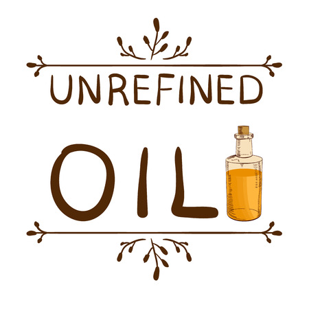 Unrefined oil and handdrawn bottle with oil. Hand drawn typographical element. Hand written VECTOR letters. Reklamní fotografie - 89834066