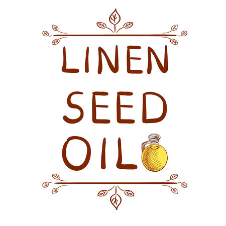 doodled: Linen seed oil and hand drawn bottle with oil. Drawn typographical element. Written VECTOR letters. Illustration