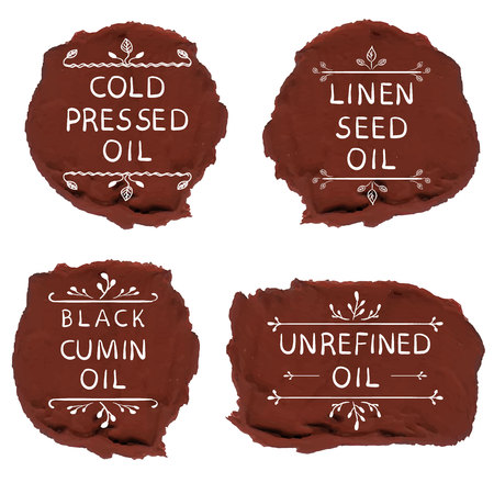 Cold pressed oil linen seed oil black cumin oil unrefined oil. Hand drawn elements on black paint spots. VECTOR letters. Reklamní fotografie - 89834151
