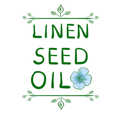 'Linen seed oil' and sketched flower. Hand drawn typographical element. Handwritten VECTOR letters. Vignette on white. Reklamní fotografie - 89834768