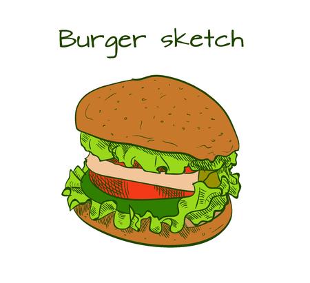 Hand getrokken hamburger. Stock Illustratie