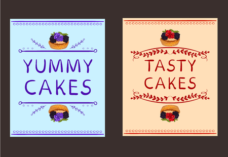 Yummy cakes and Tasty cakes words with hand drawn elements and hand drawn cupcake. VECTOR vignettes. Card templates. Orange and light blue. Blue and light orange-red.