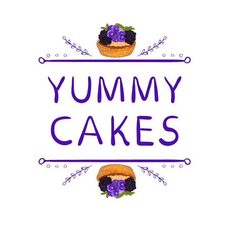 doodled: Yummy cakes words with hand drawn elements and hand drawn cupcake.