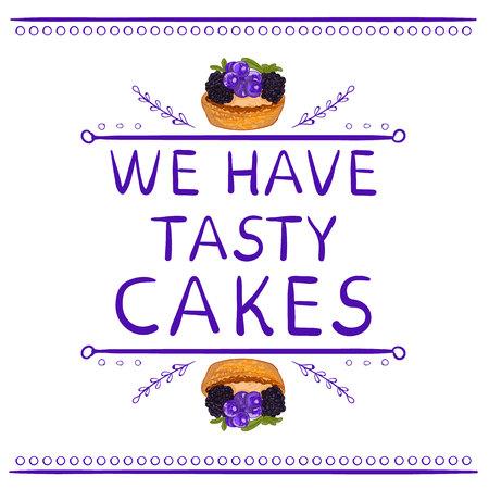 「私たちは手描きの要素と手描きのカップケーキでおいしいケーキの言葉を持っています。ベクトルのビネット。紫の線。