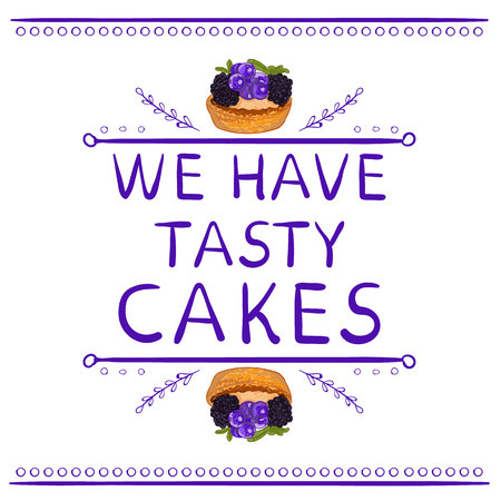 We have tasty cakes words with hand drawn elements and hand drawn cupcake. VECTOR vignettes. Purple lines.