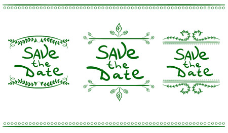 Save the Date handwritten words in vignettes.