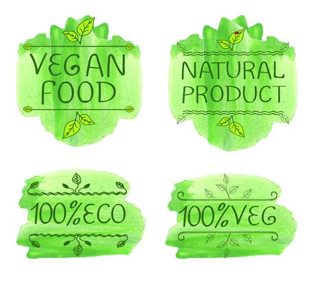 Eco products and vegan food handwritten letters on watercolor green splash.