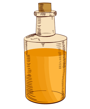 Hand drawn bottle with oil. Illustration