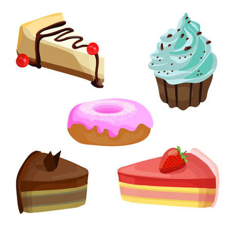 Set of cakes. VECTOR illustrations. Blue cream muffin.