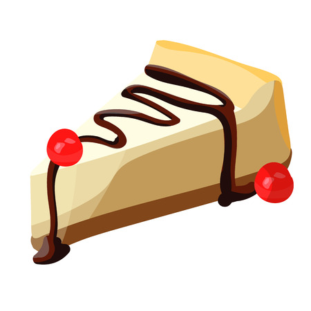 Cheesecake slice with chocolate syrup.