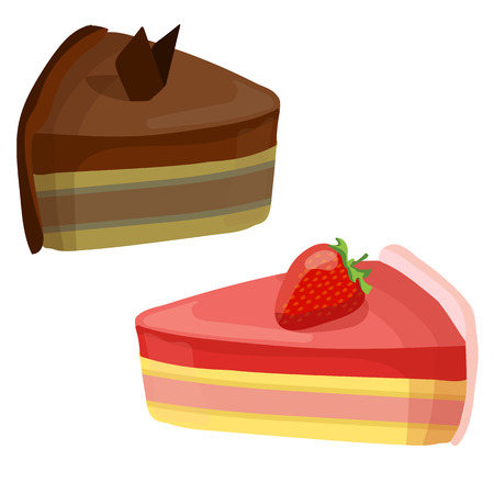 Set of 2 cakes. VECTOR illustrations. Chocolate and strawberry cakes