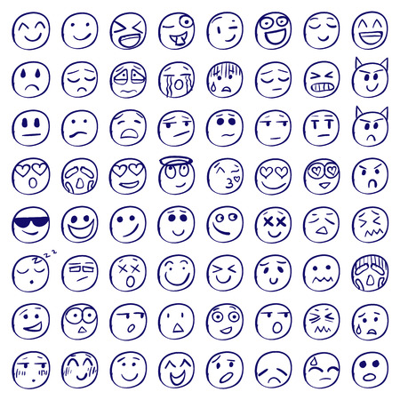 Big set of 64 smiles or emoticons.