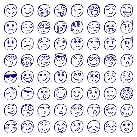 Big set of 64 smiles or emoticons.