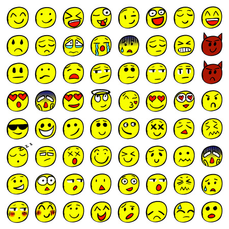 Big set of 64 smiles. Colored smiles. VECTOR Illustration