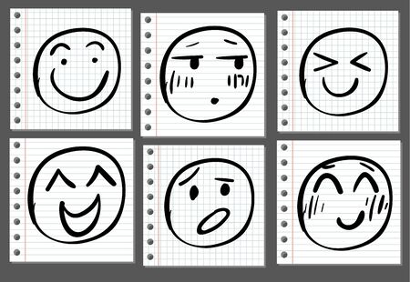 Doodle handdrawn smiles on notebook page. VECTOR. Black lines