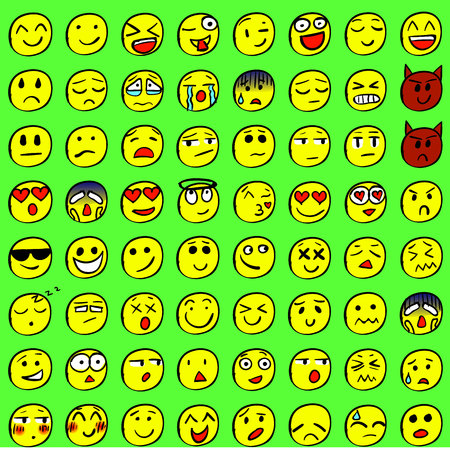 Big set of drawn smiles. Colored smiles. VECTOR Illustration