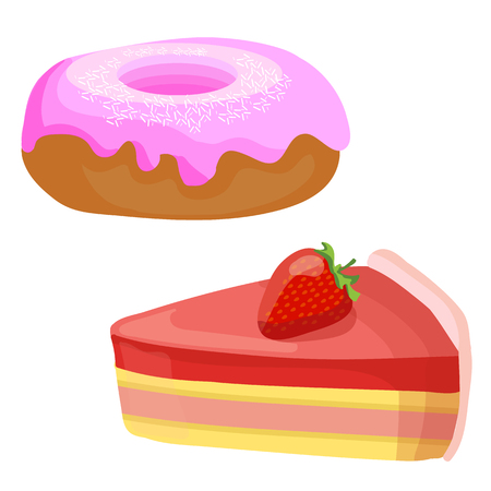 Cakes. Vector illustrations. Strawberry cake slice and donut