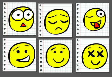 Doodle doodle smiles on notebook paper. VECTOR. Colored faces Vectores