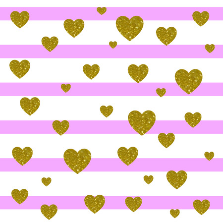 VECTOR. Valentines day card background. Light pink and white stripes and golden hearts
